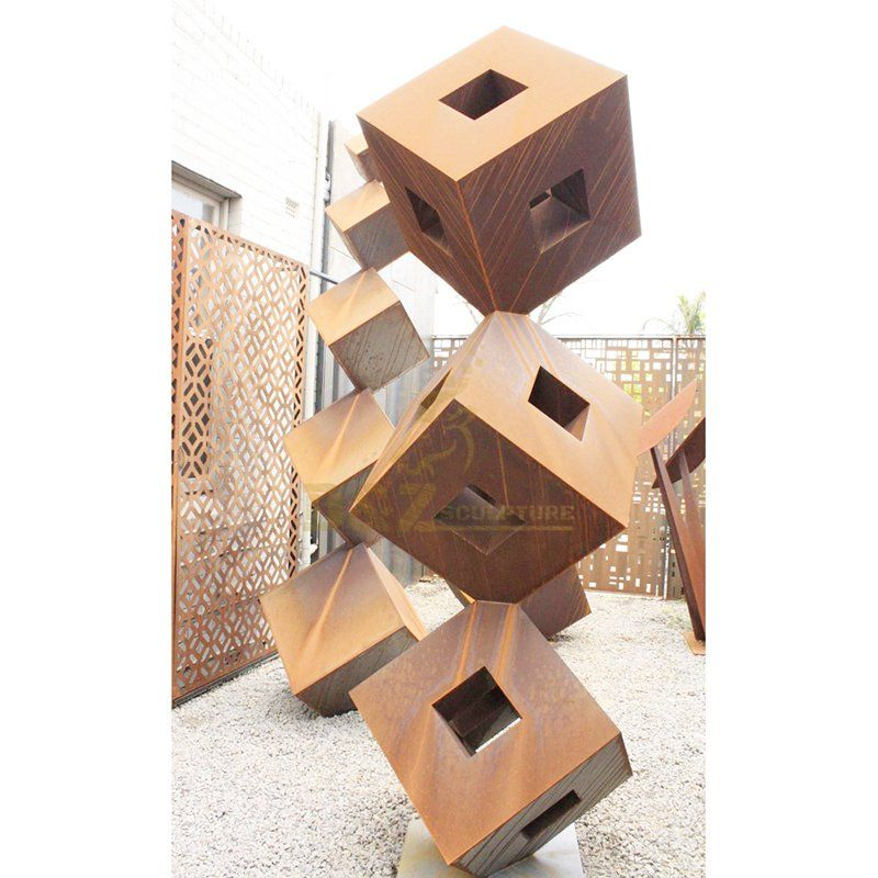 Corten Geometric Steel Metal Decorative Abstract Sculpture