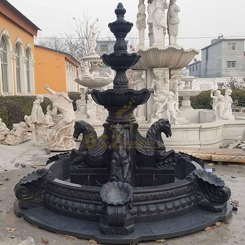 Decorative Granite Delicate Black Stone Horse Fountain