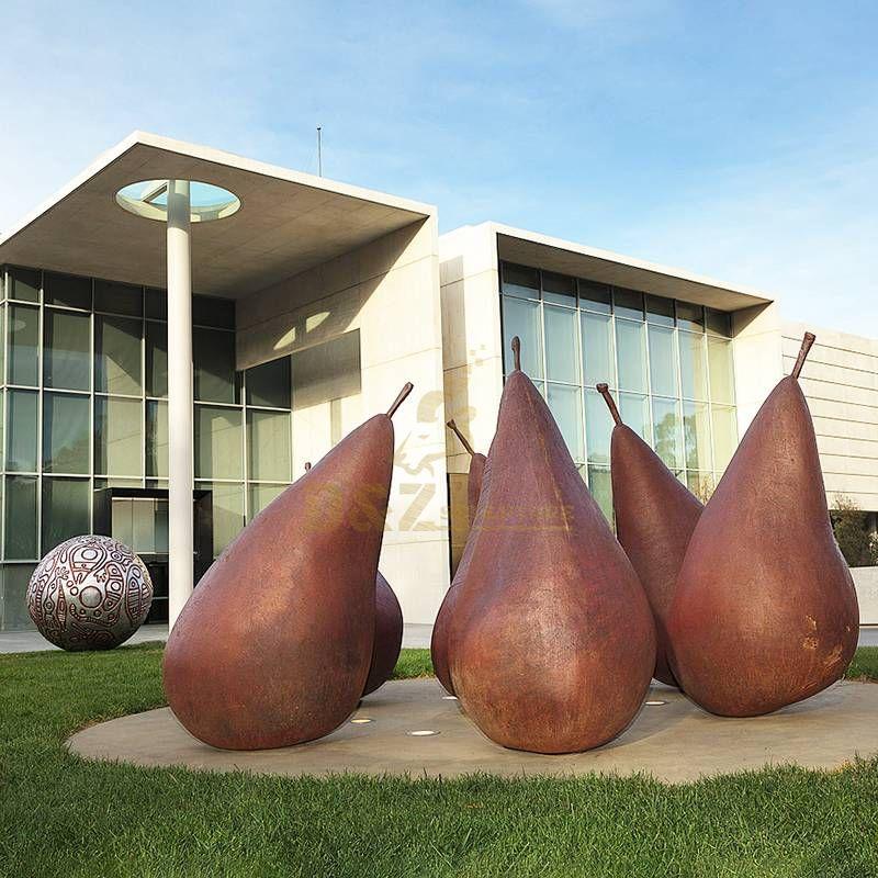 Corten Steel Fruit Pear Outdoor Decorative Sculptures