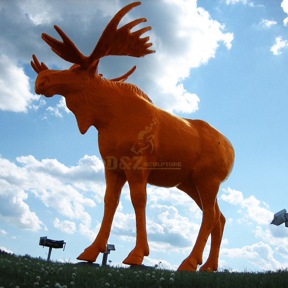 Colorful fiberglass large elk sculpture