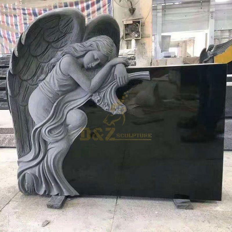 Carved Angel Black Granite Tombstone