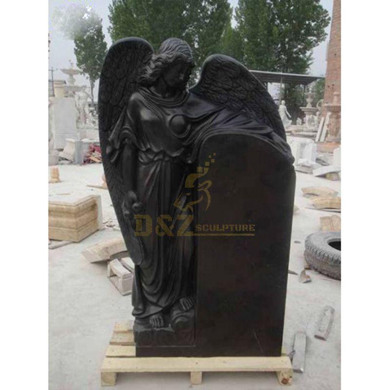 Black Granite Weeping Angel Tombstone