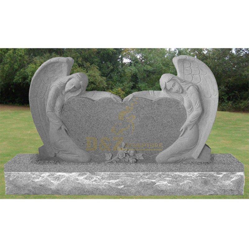 Granite Angel Wings Heart Tombstone
