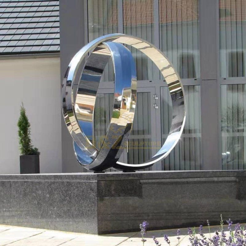 Large Modern Sculpture Stainless Steel Outdoor Rings Design Sculpture