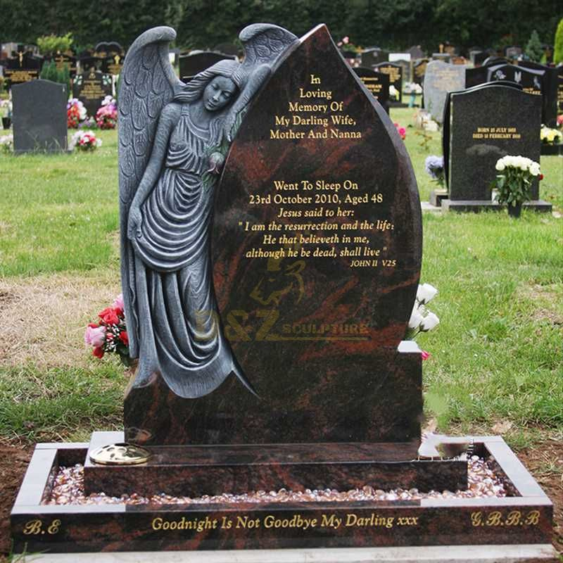 Angel Wings Granite Tombstone Design