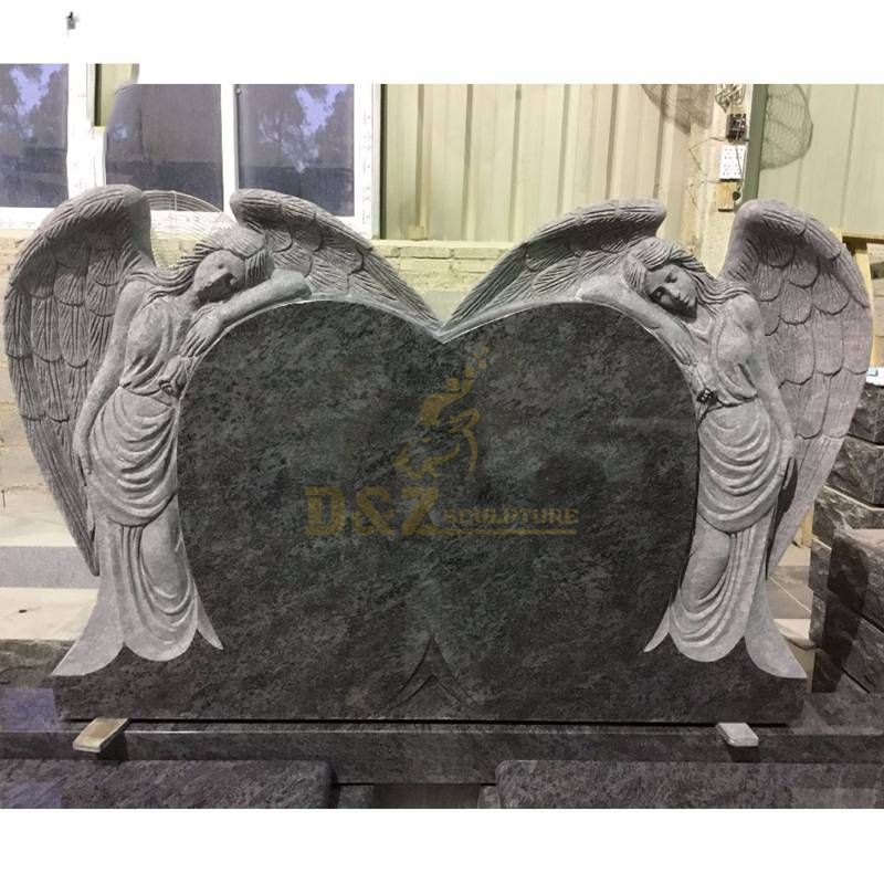 Angel Statue Carved Granite Tombstone