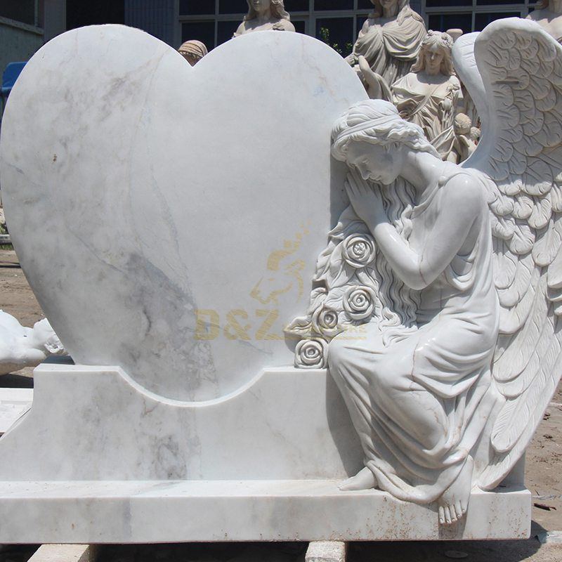 Carved And Polished Natural Angel Headstone