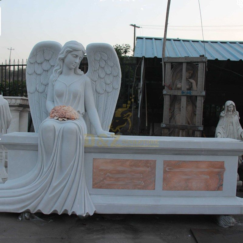 Angel Granite Bench Cemetery Headstone Tombstone