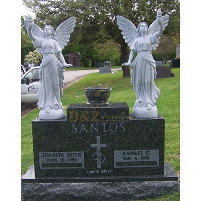 Customized European White Marble Monument Carved Angel Tombstone