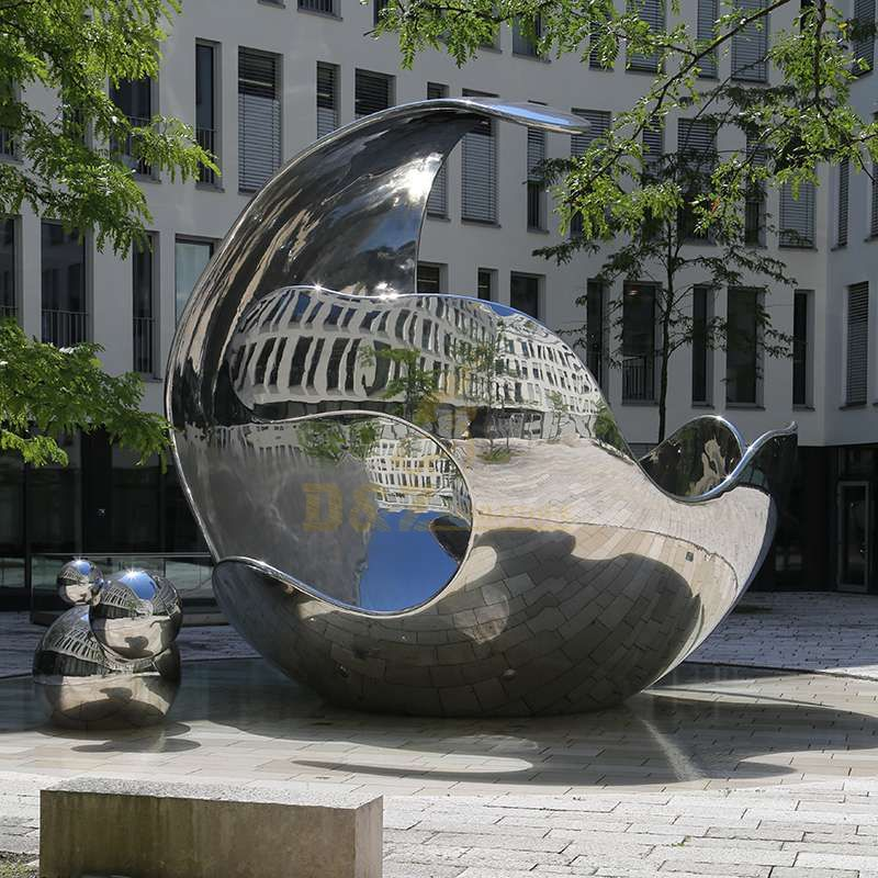 Outdoor Stainless Steel Abstract Mirror Ball Sculpture