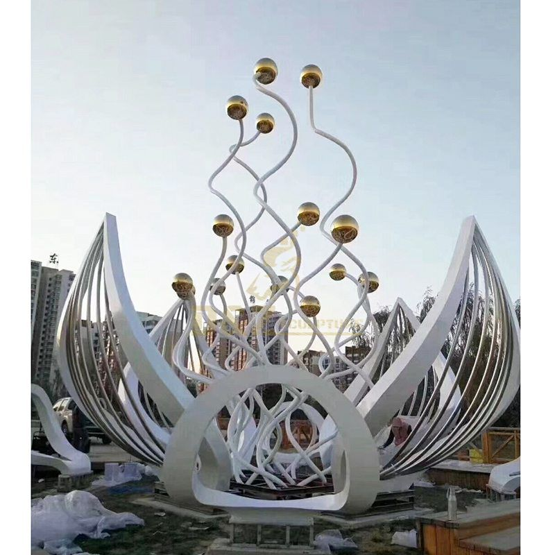 New Design Stainless Steel Lotus Flower Colorful Sculpture