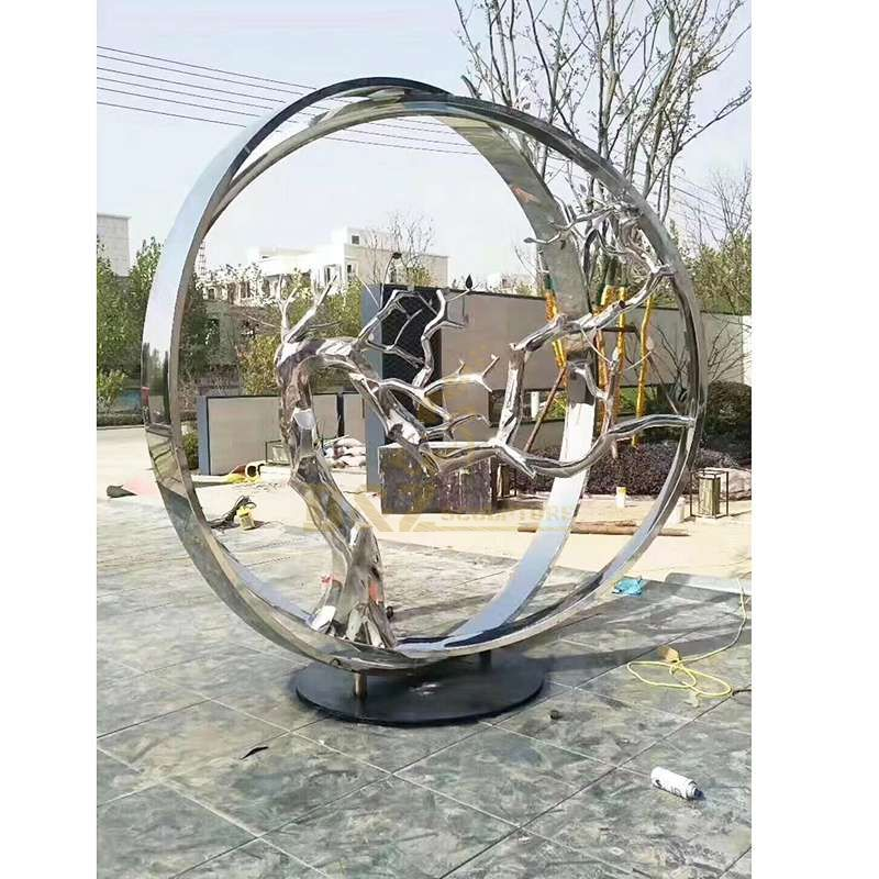 Home Ornaments Stainless Steel Abstract Tree Sculpture