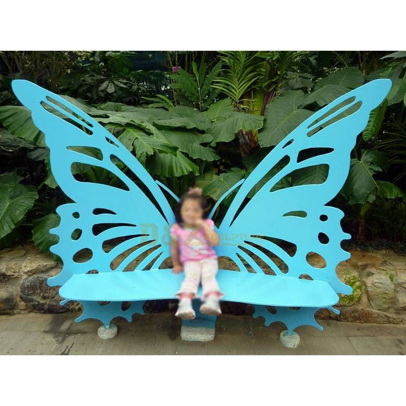 Stainless Steel Plated Butterfly Chair Sculpture For Park