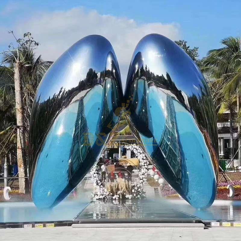 Outdoor Mirror Stainless Steel Metal Wings Sculpture