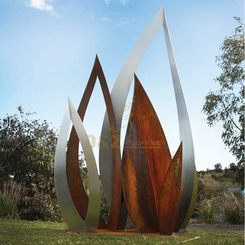 Stainless Steel Corten Steel Leaves Modern Sculpture