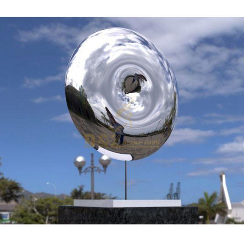 Metal sculpture art stainless steel mirror circle sculpture