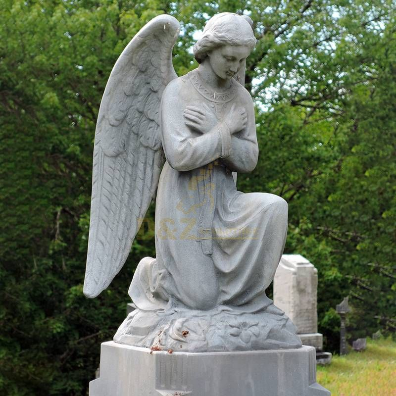 Marble Angels Kneeling Mourning Tombstone