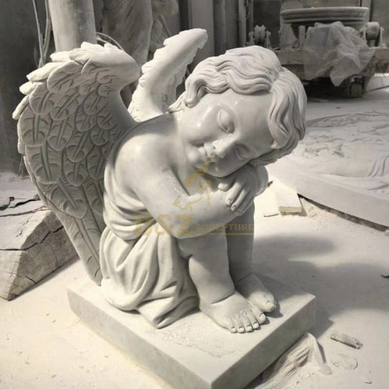 White Marble Headstone With Angel