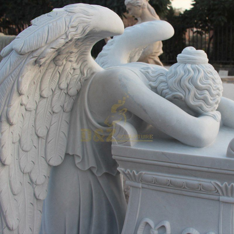 White Carrera Marble Weeping Angel Statue Tombstone