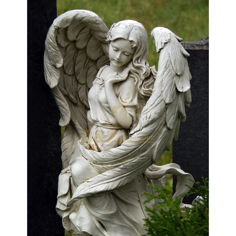 Open Wings Serene Baby Angel White Headstones