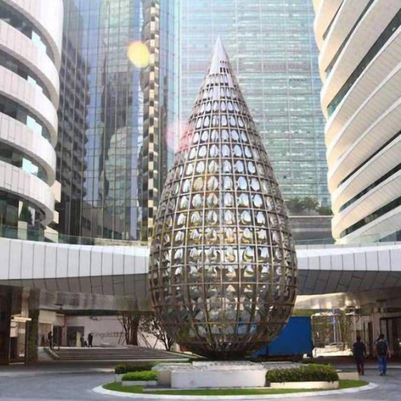 Stainless Steel Water Drop Outdoor Large Metal Sculpture