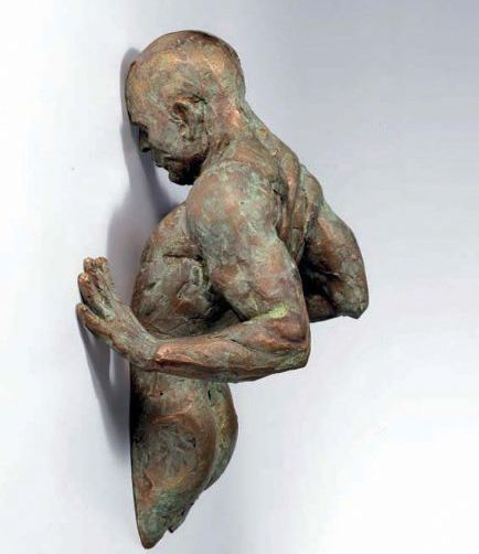Bronze body statue in wall Extra Moenia