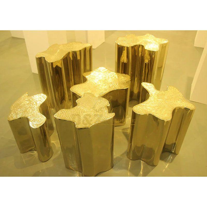 Golden stainless steel chair metal sculpture