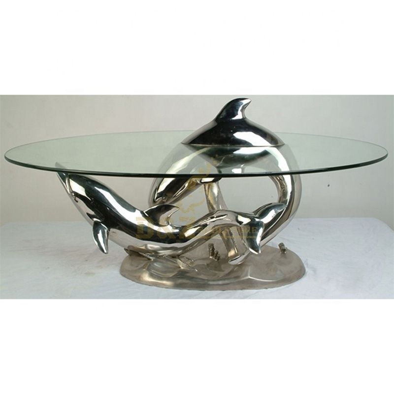 Stainless Steel Dolphin Chair Statue