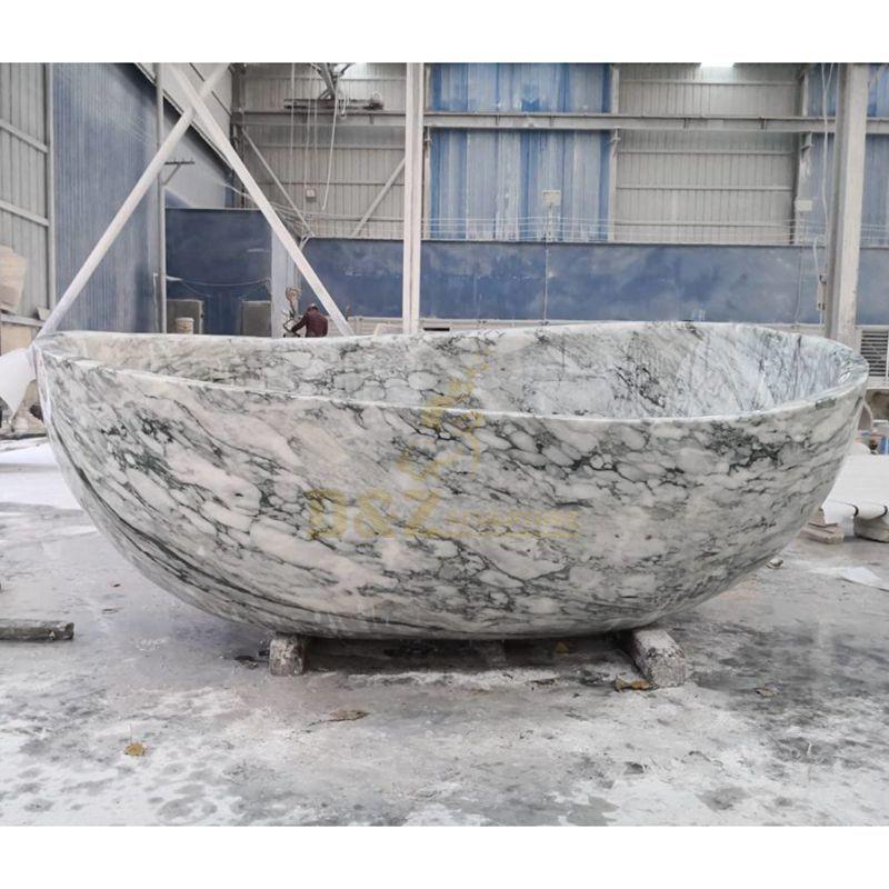 Carrara White Marble Freestanding Oval Stone Bathtub