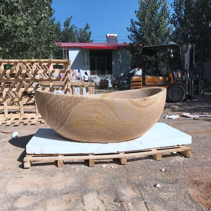 Customized Solid Surface Wood Grain Stone Bathtub