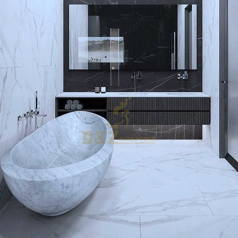 Freestanding White Marble Buth Tub