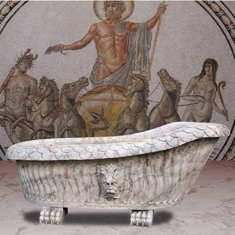 High Quality Simple White Marble Lion Head Bathtub