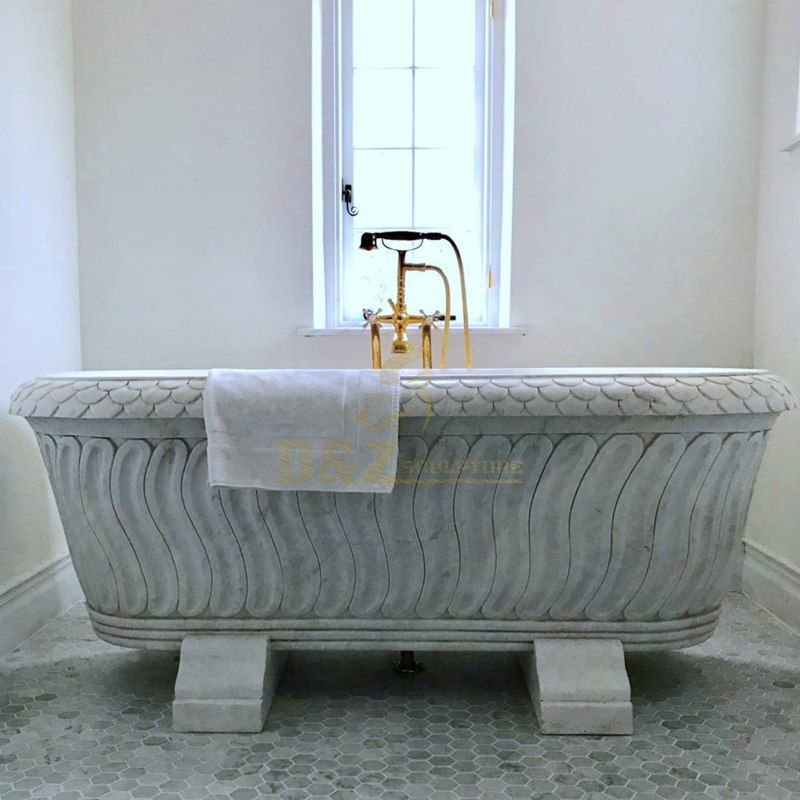 Freestanding Stone Marble Sculptural Soaking Bath Tub