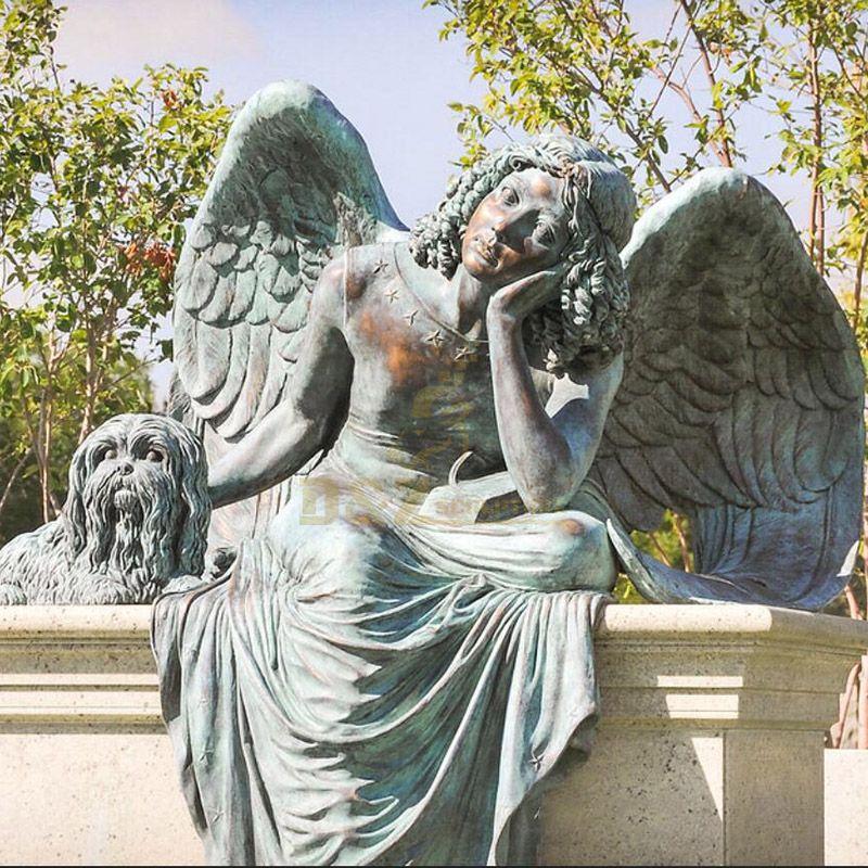 winged sad bronze statues angel
