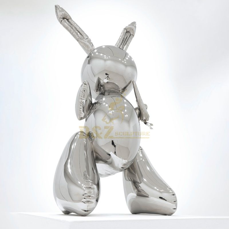 Mirror silver stainless steel rabbits sculpture
