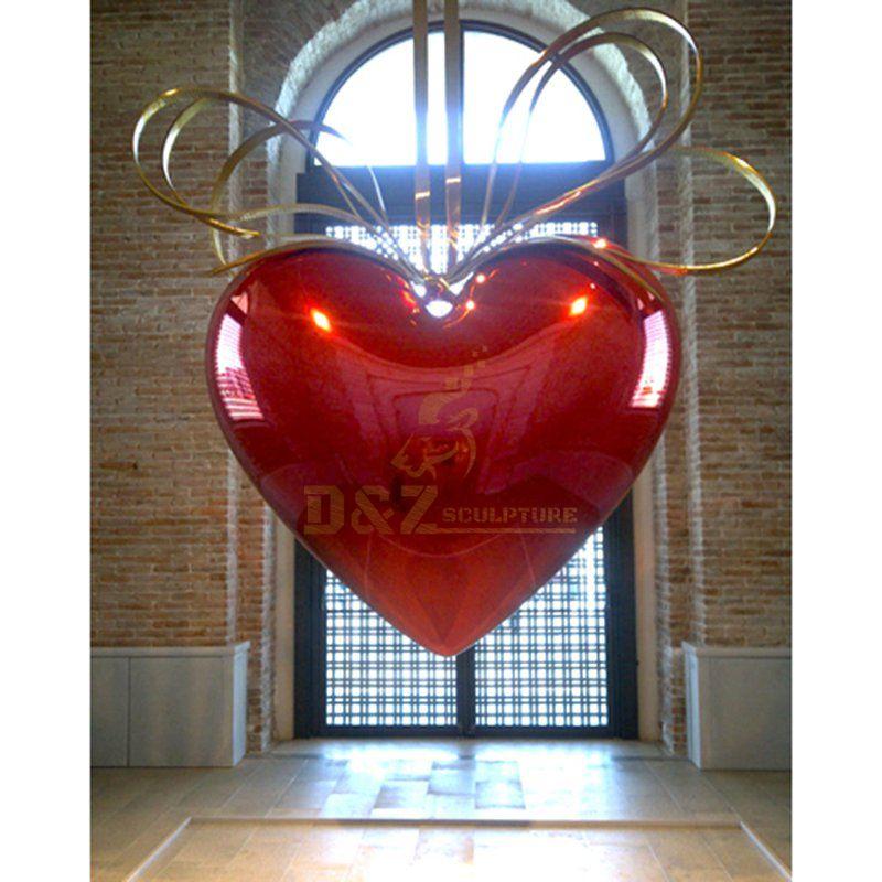 Large famous modern heart shape steel garden sculpture