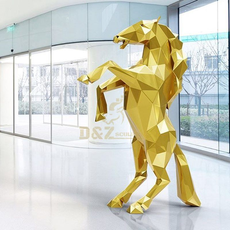 Stainless steel mirror moasic plated animal horse sculpture