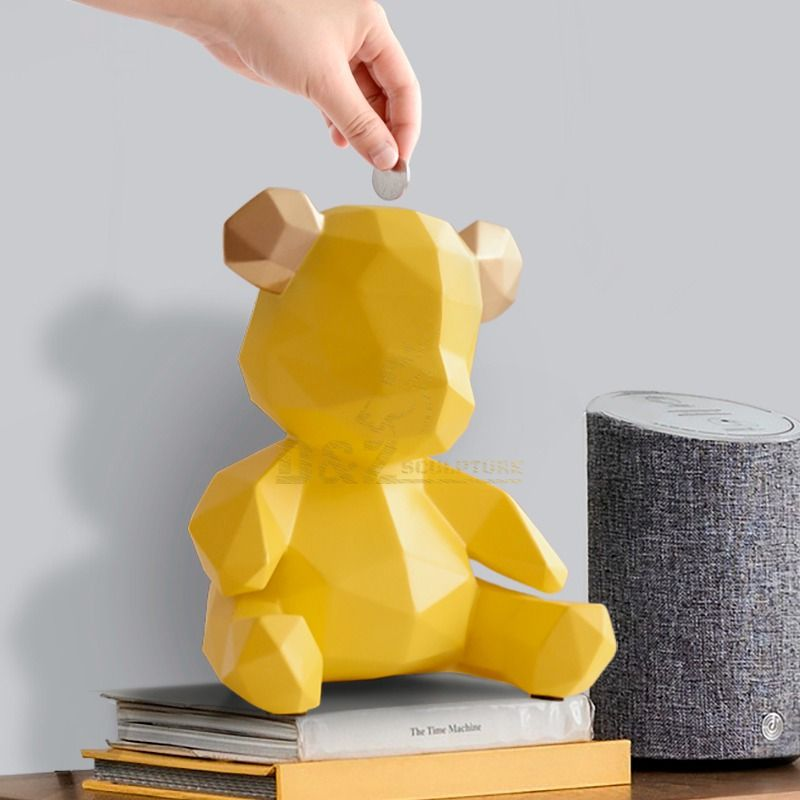 Home decoration stainless steel bear sculpture