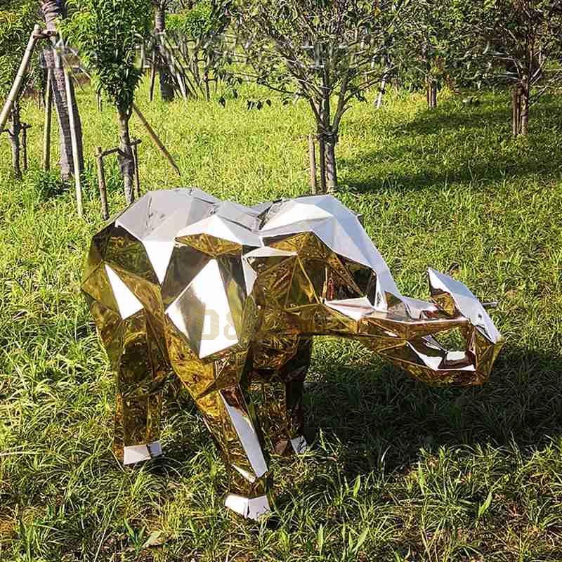 Little Golden Stainless Steel Elephant Sculpture