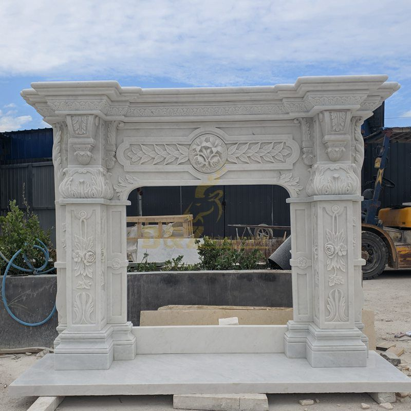 Popular Good Quality White Marble Mantel Fireplace