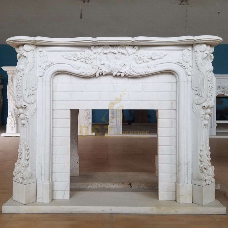 Hot Sale Indoor White Marble French Fireplace