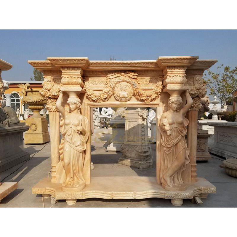 High Quality Natural Stone Marble Nude Woman Fireplace Surround