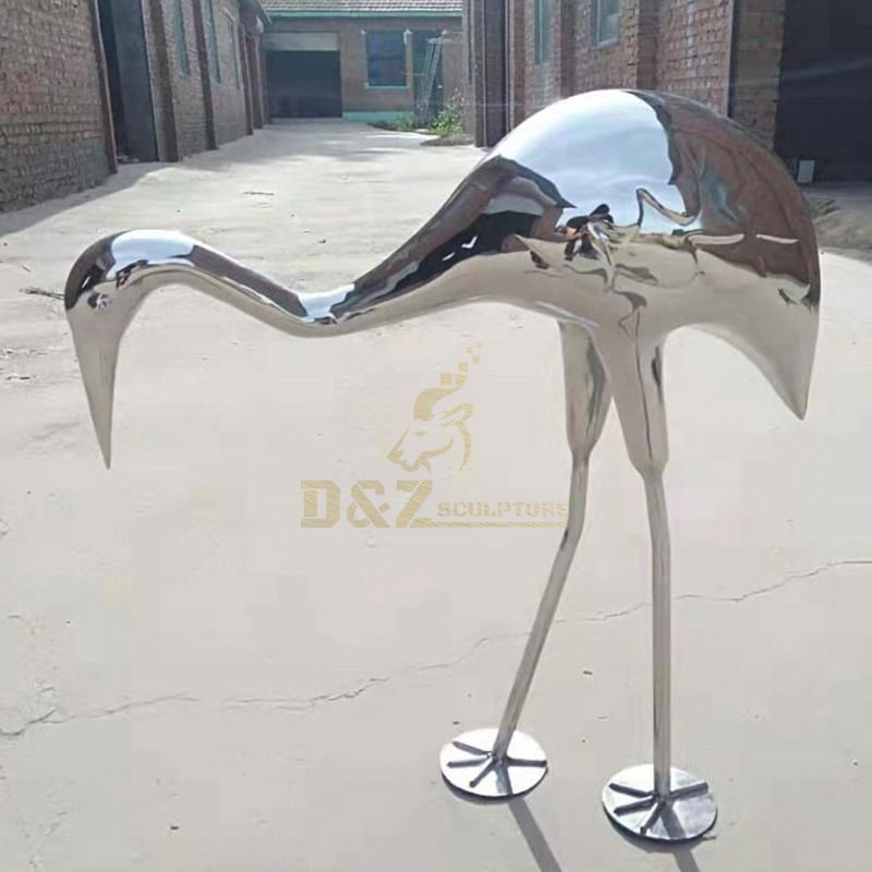 Giant Mirror Stainless Steel Flamingo Statue