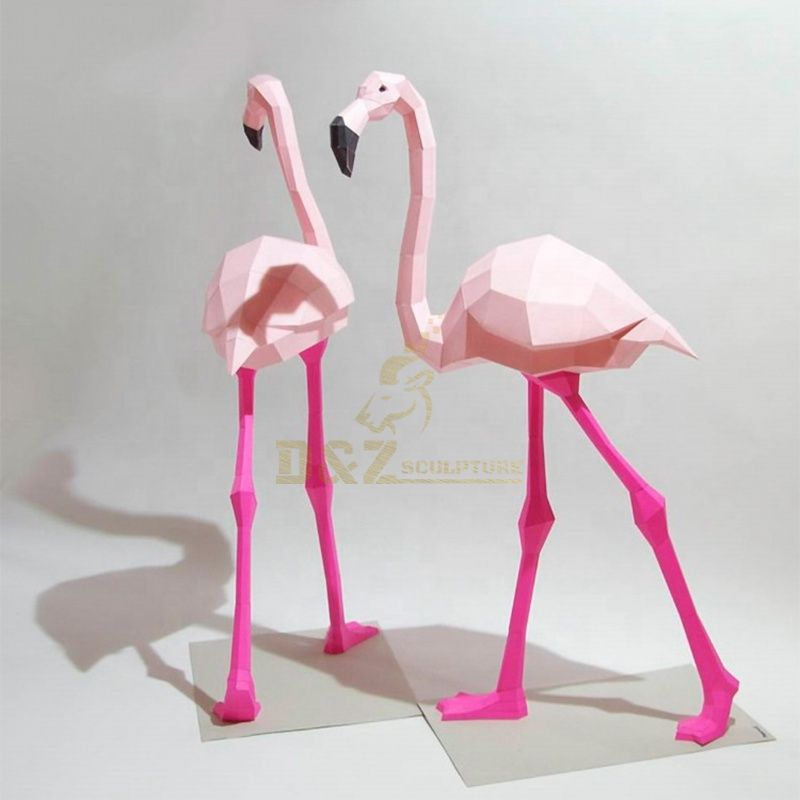 Pink stainless steel flamingo statue