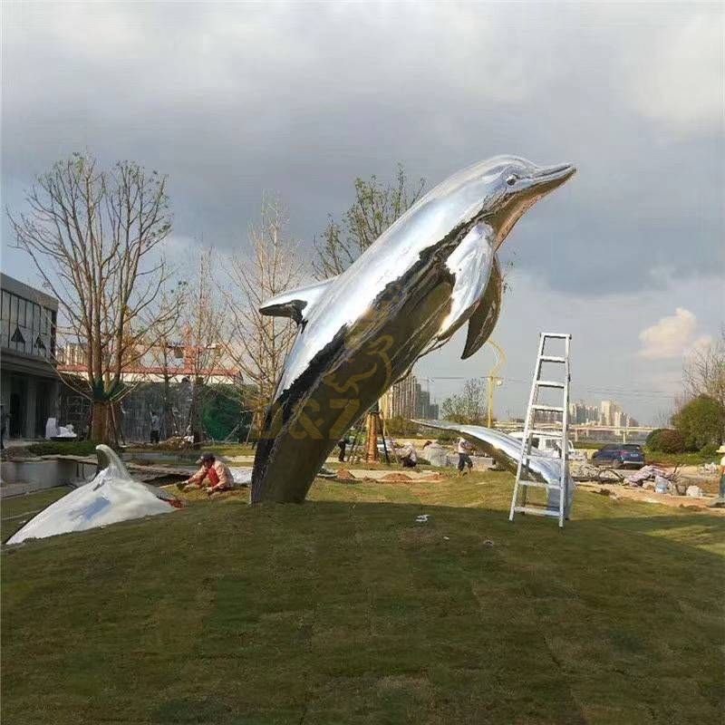 Stainless Steel Garden Art Animal Dolphin Sculpture