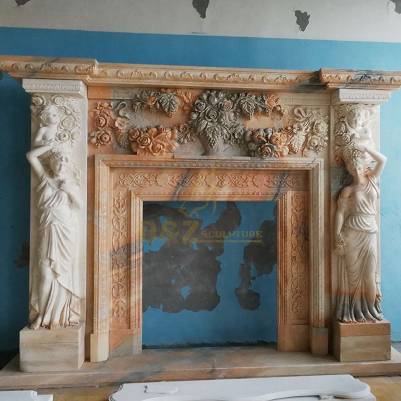 Factory Imported Stone European Fireplace With Woman Character