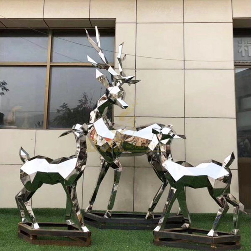 Large deer stainless steel garden sculpture