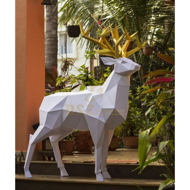 Stainless steel outdoor animal deer sculpture