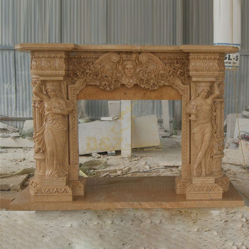 Beige Marble Fireplace With Lady Statues