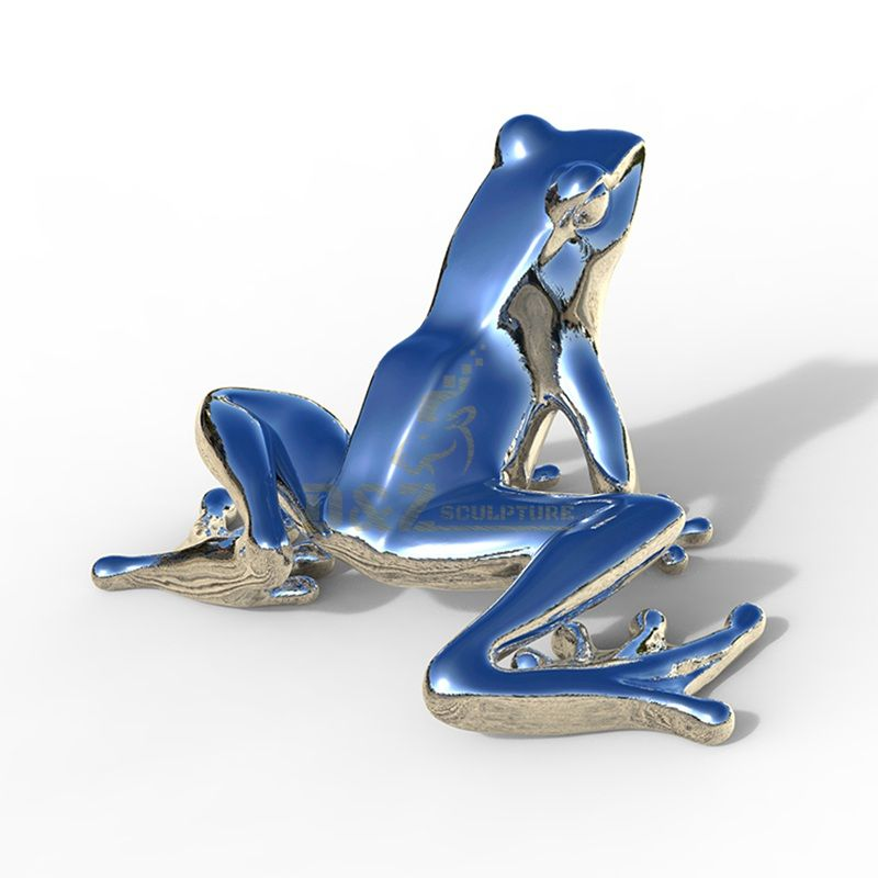 Stainless steel frog sculpture